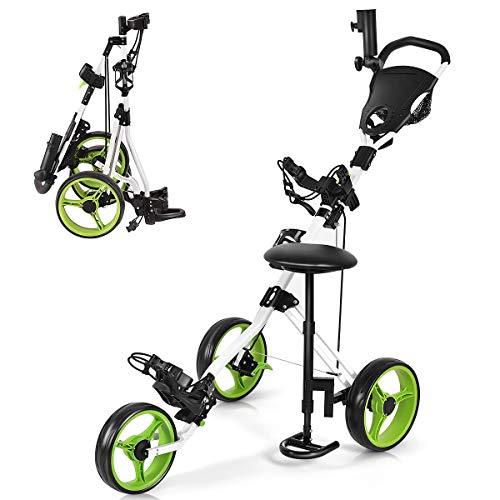 GYMAX 3 Wheel Golf Push Cart