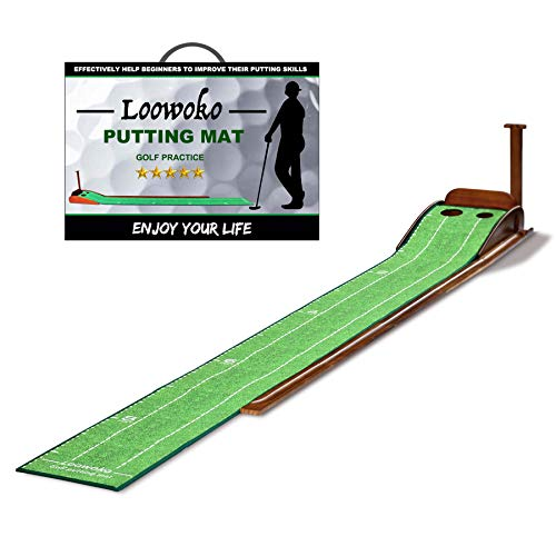 Loowoko Wood Golf Putting Green Mat with Auto Ball Return System