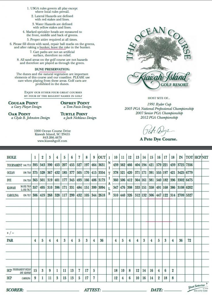 The Ocean Course at Kiawah Island Slope Rating - AEC Info