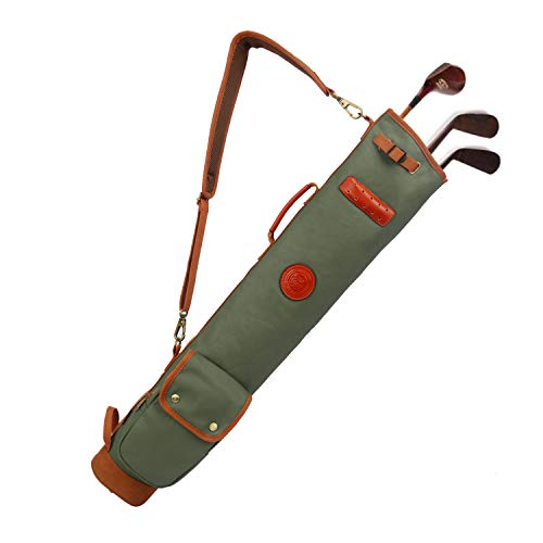 TOURBON Canvas Golf Club Travel Case Lightweight Carry Bag
